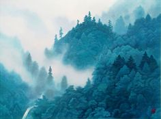 'Clouds Rising in the Mountains' lithograph by Kaii HIGASHIYAMA - Japanese Painting Gallery