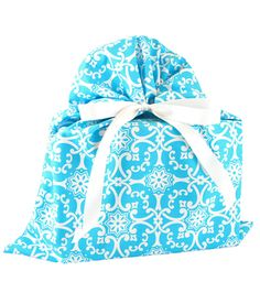 Every bride needs a little Something Blue. This cotton gift bag is perfect for wrapping a wedding or shower gift -- trash free! http://www.vzwraps.com/shop-by-color/blue/something-blue-gift-bag