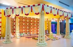 A 6 pillared muhurtham decor for Lakshmi & Srinath's beautiful 3 day TamBram wedding ! Reception Stage Decor, Wedding Stage Backdrop, Wedding Backdrop Design, Desi Wedding Decor, Wedding Hall Decorations, Wedding Stage Design, Wedding Mandap, Backdrop Decorations, Simple Stage Decorations