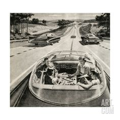 Family Playing Game While Futuristic Car Drives Itself Giclee Print at Art.com