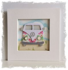Mount board frame with 3D papercut VW Camper Van / VW Bus (Butterfly Pattern)