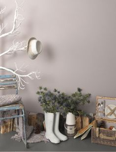 Greys and soft pink shades (including Inglenook, Tuffet and Cat's Cradle) by Earthborn paints via findthedetails.com