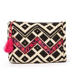Look at this #zulilyfind! BretBoho Black & White Embellished Chevron Cosmetic Case by BretBoho #zulilyfinds