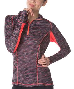 Look at this FILA Slate Melange & Fiery Coral Energy Half-Zip Jacket on #zulily today!