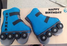 My sons 6th B.day cake, he loved it for his rollerblading party!