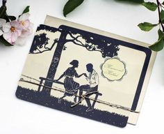 100 Custom Vintage Save the Dates or Vintage Wedding Invitations Silhouette Couple on Bench