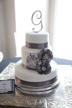 Wedding Cake 64 // Chicago Marriott Naperville // White Gray Ribbon Bows Bling Simple Monogram Letter