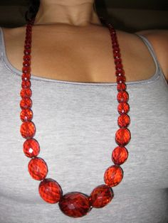 Stunning 35 in. Long Faceted CHERRY AMBER Necklace Amber Beads