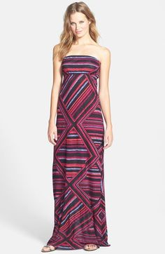FELICITY & COCO Print Strapless Jersey Maxi Dress (Regular & Petite) (Nordstrom Exclusive) available at #Nordstrom