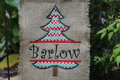 Custom Burlap Christmas Red and Green Tree Garden Flag With Chevron Print Fabric on Etsy, $12.99