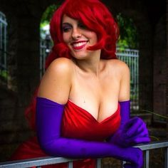 #disney #jessicarabbit #red #cosplay #cosplayer #cosplayergirl #boobs #sexygirl #sexy #reddress #smile #dressmaker #gloves #purple