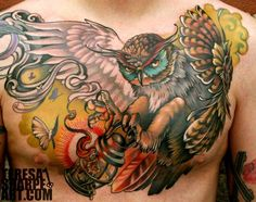 Large Owl With Candle Lamp Tattoo On Chest