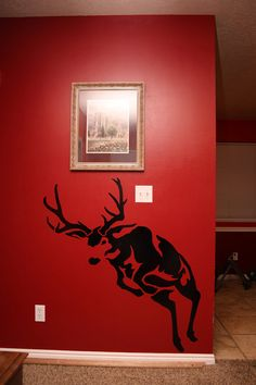 Jumping Mule Deer Decal. Would be a cool addition to a man cave, workshop or gun room.
