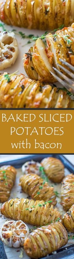 Soft and yummy golden potatoes baked until perfection with fresh thyme and juicy bacon.