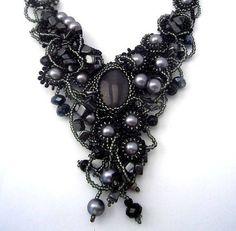 Beaded jewelry Beadwork necklace Freeform Beaded Necklace by ibics, $165.00
