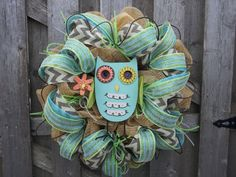 Spring Owl Mesh Wreath by DoorEnvy on Etsy, $95.00