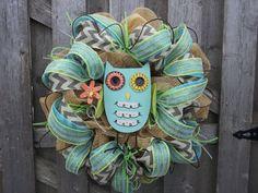 Spring Owl Mesh Wreath by DoorEnvy on Etsy, $95.00