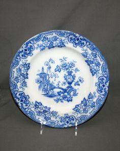 Antique John Alcock Iron Stone Blue Transferware 10 1/2 Inch Dinner Plates Celeste Pattern Cobridge England Stoke-on-Trent Flo Blue by KattsCurioCabinet on Etsy