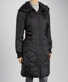 Another great find on #zulily! Black Quilted Puffer Coat by DEPT #zulilyfinds