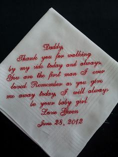 personalized wedding handkerchief for father of the bride. $24.00, via Etsy.