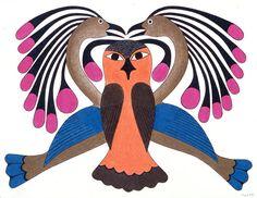 Owl and Birds by Kenojuak Ashevak, Inuit artist (G203024)
