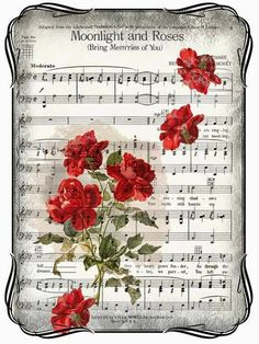 Moonlight and roses music: Create with TLC: Something New.Love is the greatest music you wrote me for that your love is so indescribable. Thank for giving me that enchanted moment to share with you! Wishing you a Happy St.vintage - Page 3 Decoupage Vintage, Papel Vintage, Diy Vintage, Vintage Cards, Vintage Paper Crafts, Sheet Music Art, Music Paper, Vintage Sheet Music, Paper Art