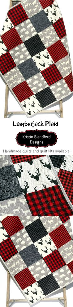 Buffalo Plaid Handmade Quilt in Baby and Toddler Sizes, Lumberjack Nursery Theme, Baby Quilt Kits, Toddler Quilt Kit, Throw Quilt Kits and Twin Quilt Kits, Red Black Grey Gray Baby Bedding, Woodland Crib Blanket by Kristin Blandford Designs #buffalocheck #quilting #baby