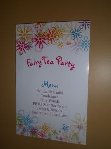 Fairy Tea Party Menu
