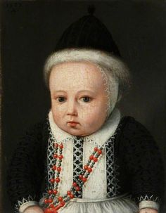 1583 Ludger Tom Ring the Younger - Portrait of a Small Child in a Fur-Lined Cap and with a Necklace of Coral Beads