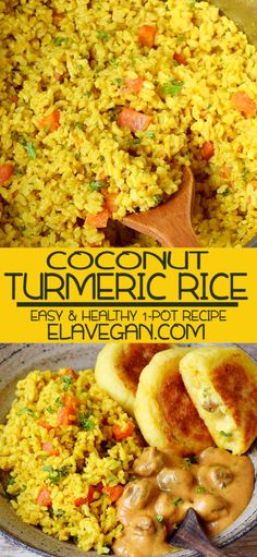 Turmeric Rice With Cocout Flavorful coconut turmeric rice which can be prepared in one pot! This easy golden rice recipe is perfect for a weeknight dinner as the preparation takes only 15 minutes. Vegetarian Recipes, Cooking Recipes, Healthy Recipes, Vegetarian Rice Dishes, Vegan Recetas, Golden Rice, Best Nutrition Food, Nutrition Websites, Nutrition Articles