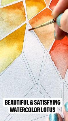 Geometric Drawing, Geometric Painting, Geometric Art, Watercolor Art Lessons, Watercolor Paintings, Watercolor Lotus, Lotus Painting, Painting Art, Doodle Art Designs