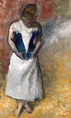 Edgar Degas / Femme debout et vue de face, agrafant son corset