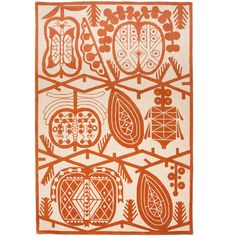 Apple Rug in orange pile by Klaus Haapaniemi, finnish textile artist, working in London, who does fascinating dark fairy tale sort of designs. Size 180x265 cm, price 2100 British pounds