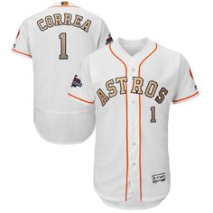8a8d63fec30 Men s Houston Astros Carlos Correa Majestic White 2018 Gold Program Flex  Base Player Jersey
