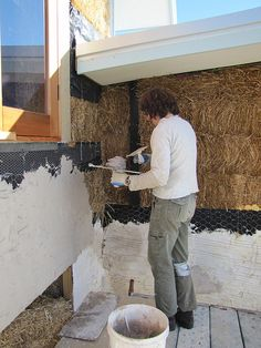 Rendering the attic exterior at a strawbale house build in Redmond Western Australia