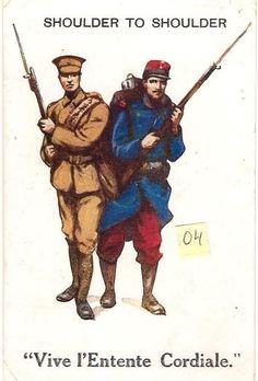 Grande carte postale de la guerre de 1914 démontrant la force de l'unité anglo-français au début de la guerre.