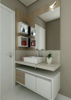 Most Popular Small Bathroom Remodel Ideas on a Budget in 2018 This beautiful look was created with cool colors, and a change of layout. Bathroom Layout, Bathroom Interior, Small Bathroom, Kid Bathrooms, Modern Bathrooms, Kitchen Small, Bathroom Cabinets, Bathroom Designs, Casa Clean