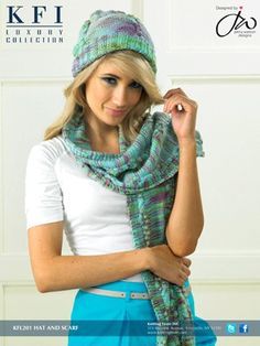 Hannah Hat & Scarf - KFL#201 from  by KFI Luxury Collection at KnittingFever.com