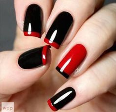 #nailart #nails #mani red-clasic-nail-art-design-with-black-red-color