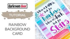 Video tutorial showing how to create an embossing resist rainbow background card using Darkroom Door Pinstripe Background Stamp and Distress Inks! Dark Look, Rainbow Background, Distress Ink, Your Cards, The Creator, Stamps, Create, Youtube, Seals