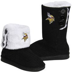 Minnesota Vikings Ladies Knit High End Button Boot Slippers - Black