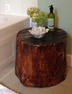 Pinned it - Made it! Tree stump stool for our bathroom. Pinned it - Made it! Tree stump stool for ou Tree Stump Furniture, Trunk Furniture, Tree Stump Table, Furniture Making, Garden Furniture, Tree Stumps, Tree Stump Decor, Furniture Ideas, Tree Logs