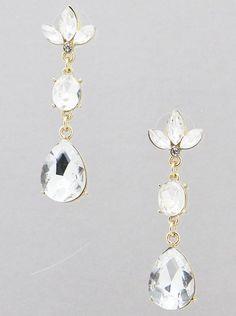 Crystal Teardrop Drop Dangle Gold Tone Wedding Bridal Women Fashion Earrings  #DazzledByJewels #Drop #Dangle #Crystal #Fashion #Jewelry #Bridal #Wedding #GoldTone #Teardrop