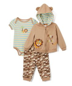 Love this Brown & Camo French Terry Set Bodysuit Set - Infant on #zulily! #zulilyfinds