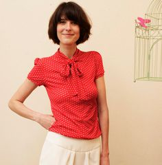 """With dots: Jersey shirt """"Stella"""", in red-white"""