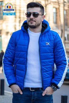 Geaca Exclusive Albastru - Alb Winter Jackets, Casual, Style, Fashion, Winter Coats, Swag, Moda, Winter Vest Outfits, Fashion Styles