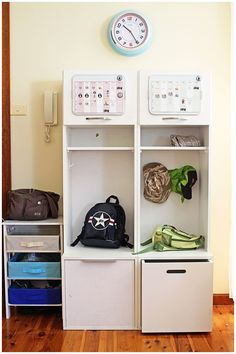 """Got kids? Stuff Master has these awesome """"launch pods"""" to store their stuff by the door"""