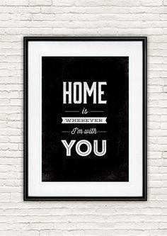 Preventivo stampa, tipografia citazione, Home è ovunque Im con voi, parete arte, bianco e nero, inspirational, citazione, decorazione della parete, colore