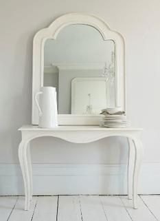 A slender and elegant console table in matte white wood. The mirror featured above the Arbois console is the white Verona mirror. See our Mirrors section for further details. Furniture Decor, Painted Furniture, Dressing Table Vanity, White Rooms, White Shop, Luxury Interior, Home Accessories, Duvet, Mirrors