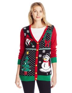 online shopping for Ugly Christmas Sweater Women's Button-Front Christmas Cardigan Sweater from top store. See new offer for Ugly Christmas Sweater Women's Button-Front Christmas Cardigan Sweater Ugly Christmas Sweater Women, Christmas Clothes, Holiday Sweaters, Winter Outfits, Holiday Outfits, Holiday Gifts, Black Christmas, Christmas Tree, Models